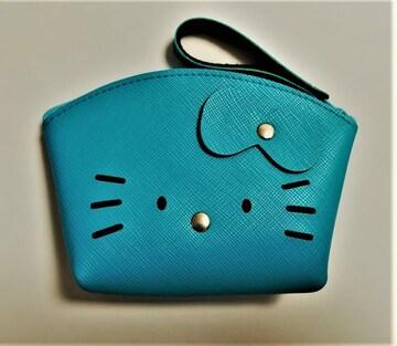 モバオクで買える「キティ★アーチ型合皮ポーチ★ターコイズブルー★バッグ素材★」の画像です。価格は510円になります。