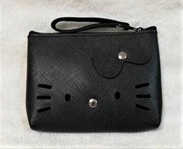 モバオクで買える「キティ★合皮ポーチ★小銭入れ★黒★ブラック★」の画像です。価格は500円になります。