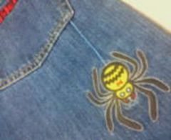 ヒスミニ長デニムパンツロゴ*クモ*クモの巣は刺繍130�p美品中古