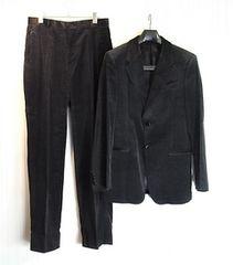 size52☆美品☆エンポリオアルマーニ黒ラベル 別珍製スーツ
