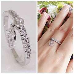 指輪18KRGPプラチナ高級CZ上質リングyu1044e