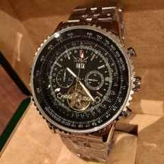 ブライトリング好きな方に★ビッグフェイス自動巻きクロノグラフ腕時計・黒銀枠