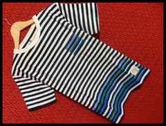 アクセントカラーボーダー胸ポケットTシャツ/白紺/M