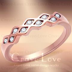 新品ラティスリング☆11.5号格子クリスタルピンクゴールド色pink細い指輪