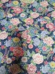 ☆新品紺×牡丹藤菊和柄ダボシャツ130