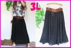 夏新作◆大きいサイズ3Lブラック◆ウエストベルト風◆ロングスカート