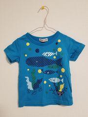 青に魚模様の半袖Tシャツ90