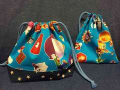 ハンドメイド☆マリオ×星☆お弁当袋&コップ袋