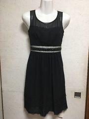 新品アプワイザーリュクス裾レースドレスワンピース黒ブラック1