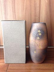 信楽焼き ◆ 金彩押花 花瓶フラワーベース ◆ 一度使用美品♪