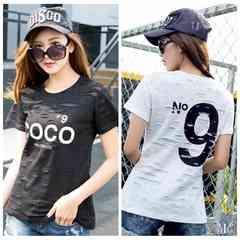 901378大きいサイズ 穴あき風 N9プリント COCOロゴ人気 Tシャツ ☆F黒