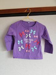 紫にリボン柄の長袖Tシャツ90