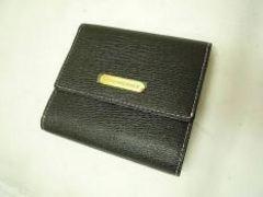 正規バーバリー中チェック3つ折財布/黒☆美品