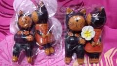 チャイハネ購入☆バリ雑貨☆木製猫ネコ置物2点☆新品☆難アリ☆送料込み
