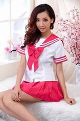 リボンが可愛いミニスカセーラー服コス Sピンク