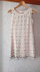 新品 2枚セット花柄 刺繍 ワンピース 白 シ—スル— M