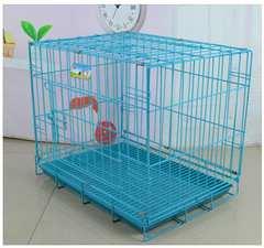 小型犬用◆Mサイズ 折りたたみペットケージ/青
