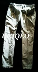 【UNIQLO】ワンタック テーパードイージーパンツ M/Gray(ストライプ)