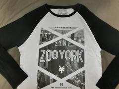 アメカジ【ZOOYORK】NY高層ビル街並みプリントロングT US L白黒