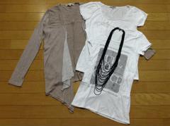 ブラックバイマウジーアシメカーデ+Tシャツ2枚+ネックレス計4点セット