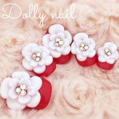 みぢょ!ショートオーバル紅白3Dぷっくりフラワー/和装/色打掛/花嫁ネイル