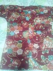 ☆処分品赤エンジ麻葉×牡丹金彩花束大鞠和柄ダボシャツS