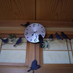 壁掛け時計 鳥いっぱい