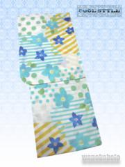 【和の志】女性用浴衣◇Fサイズ◇白系・水玉に花◇652-12