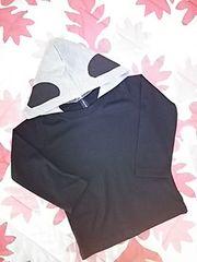 フード付パンダプリ長袖Tシャツ 95