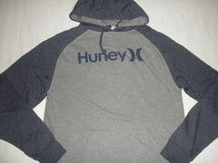 【Hurley】裏起毛ロゴプリント プルオーバー パーカーUS S 灰x紺