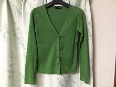 美品オゾックOZOC緑色グリーンカーディガンアンサンブル