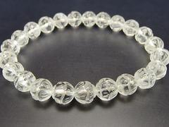 天然石3A水晶蓮華彫り約8mm数珠ブレスレット