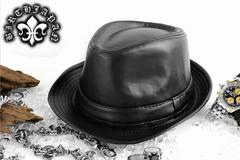 送料無料/キレイメお兄系ホストオラオラ系/ヤクザチンピラ/レザー調ハット/帽子30黒