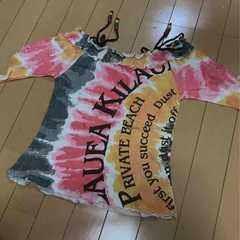 新品◆オフショルタイダイ◆半袖カットソーTシャツ◆120