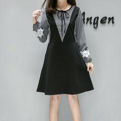 新品大きいサイズ5L19号花レースモチーフ袖ワンピース 黒