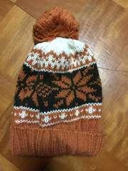 茶系ニット帽子フリーサイズ