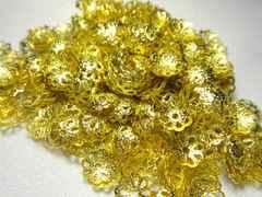 ロンデル★フラワー型★黄金色、ゴールド色★200個セット