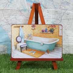新品【ブリキ看板】Bathroom/バスルーム Blue
