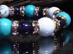 ホワイトターコイズ・ターコイズ10ミリ§アメジスト8ミリ数珠