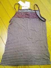 新品★『何柄レースキャミ』紫×グレー〓定価1900