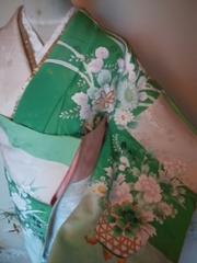 緑ボーダー華*訪問着正絹袷165表/美品レタP
