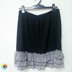 大きいサイズ ペチ スカート 3L 裾ストライプ (黒)