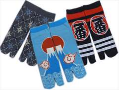 メンズ男性和柄靴下足袋ソックス3足セット手裏剣・富士山・ハッピスニーカー丈