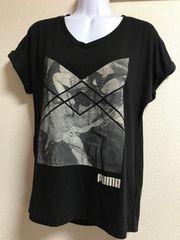 ★PUMA 黒×プリント 背中開きカットソー  L★