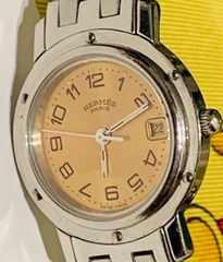 良品エルメスクリッパーレディース時計ピンク文字盤CL4.210稼働