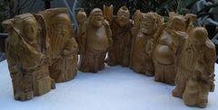 木彫り七福神/七体総揃い 置物、時代物!!中古品