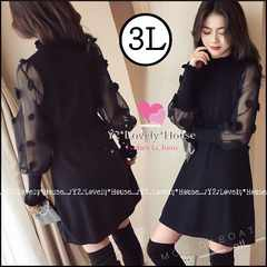 3L*大きいサイズ*袖シースルー水玉モチーフワンピース*黒