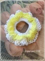 ハンドメイド/手編み♪毛糸のダブルフリル編みシュシュ 7