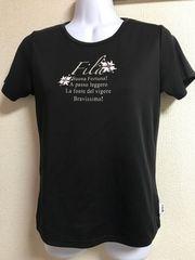 ★FILA 黒×ラインストーン付 スポーツTシャツ  M★
