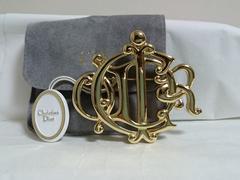 正規美レア ディオールDior CDRロゴブローチ金 ゴールド ブランドロゴ文字モチーフ